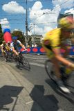 Bicycle race. In Vienna. Motion blur is used to show the movement of the riders Royalty Free Stock Image