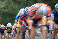 Bicycle Race. Bicyclists racing down the straight away Royalty Free Stock Image