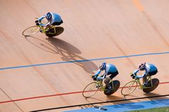 Bicycle Race. Team pursuit cycling championship at a velodrome Stock Photography