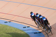 Bicycle Race. Team pursuit cycling championship at a velodrome Royalty Free Stock Image