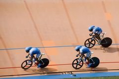 Bicycle Race. Team pursuit cycling championship at a velodrome Royalty Free Stock Photo
