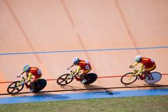 Bicycle Race. Team pursuit cycling championship at a velodrome Royalty Free Stock Photography