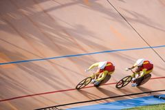 Bicycle Race. Team pursuit cycling championship at a velodrome Stock Images