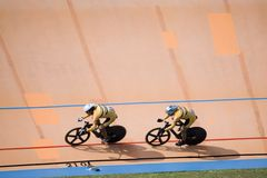 Bicycle Race. Team pursuit cycling championship at a velodrome Royalty Free Stock Images