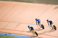 Bicycle Race. Team pursuit cycling championship at a velodrome Stock Image