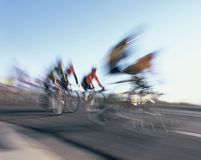 Bicycle race. Cyclists zoom past during a bicycle race Stock Photography