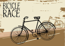 Bicycle race. Grunge vector illustration of a bicycle royalty free illustration