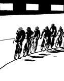 Bicycle Race B&W. Bicycle race turned into a black and white photo Royalty Free Stock Photos