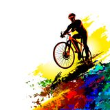 Bicycle race. Biker sport. Bicycle rider training for competition at a cycling road. Poster, banner, brochure template with a cycl. Illustration of young man stock illustration
