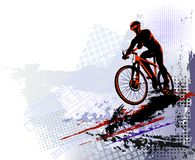Bicycle race. Biker sport. Bicycle rider training for competition at a cycling road. Poster, banner, brochure template with a cycl. Illustration of young man vector illustration