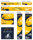 Bicycle race event. different size banner set Royalty Free Stock Images