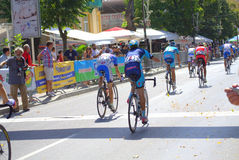 Bicycle race finish. Cycling peloton passing the finish on Varna city street -participants in the first International Cycling Tour of Bulgarian Black Sea Coast Stock Photos