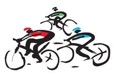 Bicycle race ink drawing. Stock Image