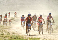 Bicycle race for the semi-desert of The Bardenas Stock Photos