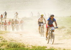 Bicycle race for the semi-desert of The Bardenas Royalty Free Stock Photos