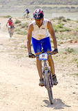 Bicycle race for the semi-desert of The Bardenas Royalty Free Stock Photography