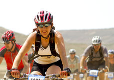 Bicycle race for the semi-desert of The Bardenas Stock Photography