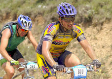 Bicycle race for the semi-desert of The Bardenas Royalty Free Stock Images