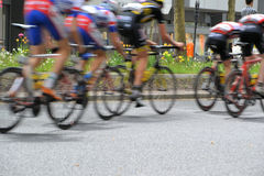 A bicycle race through the streets Royalty Free Stock Image