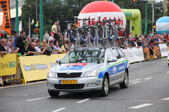 Bicycle race team support Stock Photo
