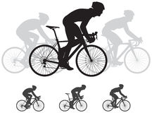 Bicycle race vector silhouettes Royalty Free Stock Image