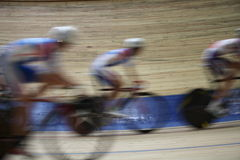 Bicycle Race Velodrome. Velodrome  competition speed blurred motion Royalty Free Stock Photo