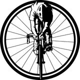 Bicycle Racer in Wheel Stock Image