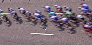 Bicycle racers from rooftop Stock Images