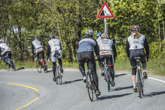 Bicycle racing, road - race (ambulance). From 2 to 4 May 2014 it was run a bike race called for the Ostfold (Østfold) 3 - day. The last day was run in Halden Royalty Free Stock Photo