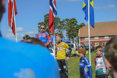 Bicycle racing, road - race (awards ceremony for the youngest) Royalty Free Stock Image