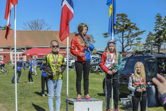 Bicycle racing, road - race (awards ceremony for the youngest) Stock Photography