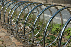 Bicycle rack. In front of shop royalty free stock photography