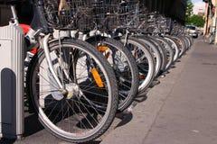 Bicycle rack. Row of bicycle stock image