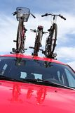 Bicycle rack. On top of car Stock Images