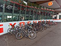 Bicycle Rack at Train Station. Many bicycles or pushbikes secured at a suburban Sydney train station by commuters, NSW, Australia Royalty Free Stock Images