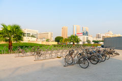 Bicycle racks to park dozens of bikes in modern and progressive Stock Photography