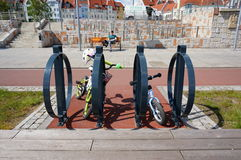 Bicycle racks Stock Images