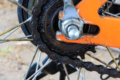 Bicycle Rear Sprockets with Chain On, Close up. Royalty Free Stock Images