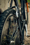Bicycle rear wheel and brakes stock photos