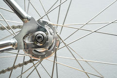 Bicycle rear wheel with chain & sprocket Royalty Free Stock Photos