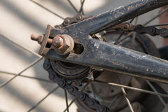 Bicycle rear wheel and drive chain closeup Stock Photography