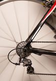 Bicycle rear wheel in motion Royalty Free Stock Photo