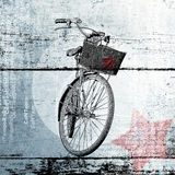 Bicycle with a red star. Contemporary poster. Royalty Free Stock Photography