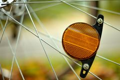 Bicycle Reflector in Fall Season Royalty Free Stock Photo