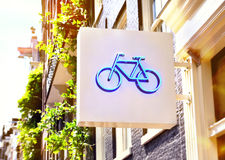 Bicycle rent sign of a bicycle shop Stock Images