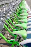 Bicycle rent in a travel destination city stock image