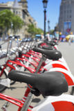Bicycle rental in Barcelona, Spain Stock Photos