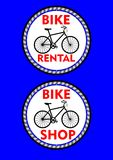 Bicycle rental, bicycle shop, two circle colored label or signboard. Black bike silhouette and headline in red design. Vector EPS 10 Stock Photography