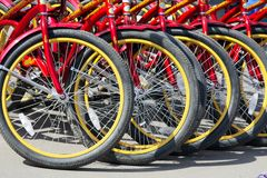 Bicycle rental. Bikes are parked on a sunny afternoon Royalty Free Stock Image