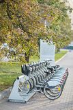 Bicycle rental in the center of Moscow. Transport. Moscow car sharing. center of Moscow. Autumn. royalty free stock images